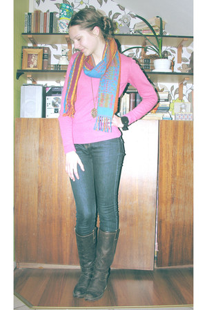 dark brown boots - blue jeans - pink sweater - black adidas watch