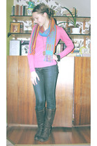 dark brown boots - blue jeans - pink sweater - black adidas watch