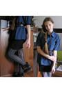 Black-bodycon-dress-blue-mens-thrifted-shirt