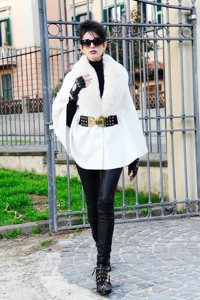 black Zara shoes - black Zara sweater - black faux leather Bershka pants