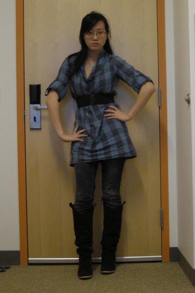 black Zara belt - silver necklace - blue NafNaf blouse - gray Charlotte Russe je