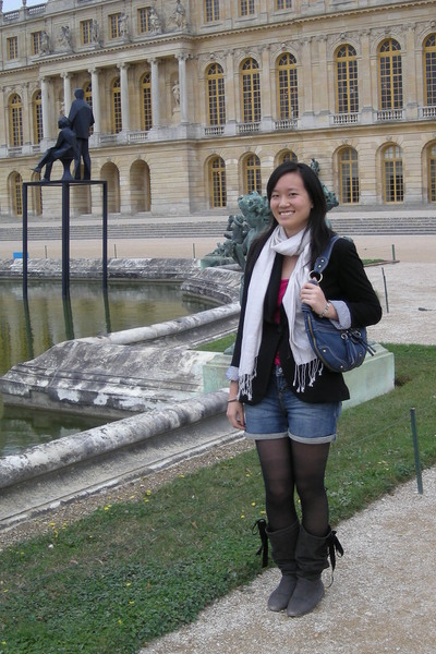 black Zara blazer - gray Miss boots - white accessories scarf - pink Old Navy sh