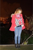 red La Redoute coat - black Dorothy Perkins boots - navy H&M jeans