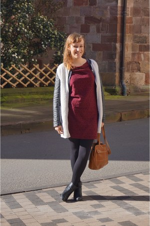 black Dorothy Perkins boots - ruby red Naf Naf dress - ivory Sheinside coat