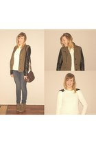 olive green urban behavior boots - olive green Forever 21 coat - navy H&M jeans