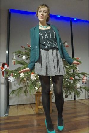 turquoise blue Alcott blazer - gray Shaman top - navy brandy melville skirt
