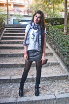 loewe bag - Zara boots - pull&bear skirt - YSL t-shirt