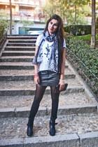 loewe bag - Zara boots - pull&bear skirt - YSL t-shirt