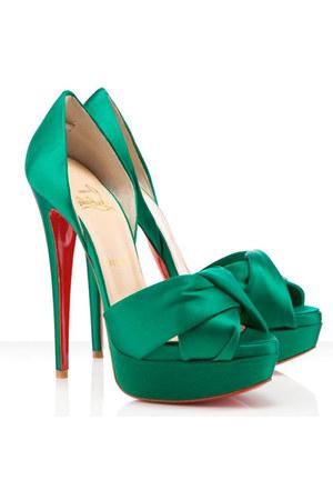 teal Christian Louboutin heels