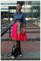 hot pink skirt - blue shirt - black tights - black black belt
