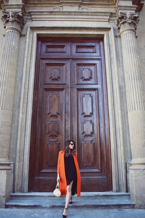 carrot orange casentino vintage coat - black vintage shoes