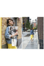 blue denim vintage jacket - yellow yellow Stefania silvestri dress