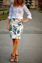 sequins H&M skirt - white H&M blouse - Zara sandals