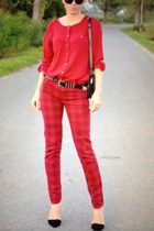 red Zara sweater - Zara pants - Zara heels