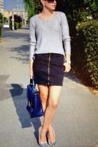 sparkling Zara top - blue Nine West bag - black zipper Zara skirt