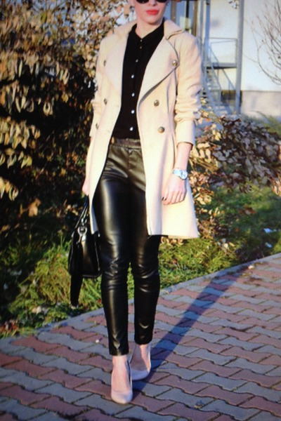 sammydress bag - nude heels Zara heels - leather H&M pants