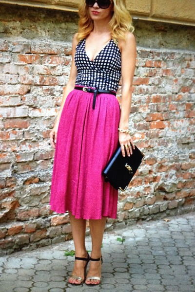 gingham H&M top - clutch Zara bag - unknown sandals - fuchsia asos skirt