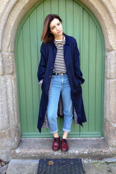 brick red leather Dr Martens shoes - navy raincoat vintage coat