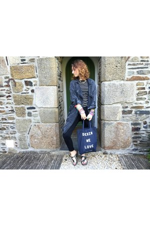 gray Vero Moda jacket - navy tote Vero Moda bag - black Zara pants
