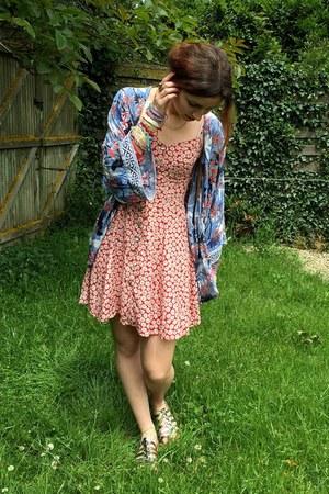 red vintage dress - blue kimono pull&bear jacket