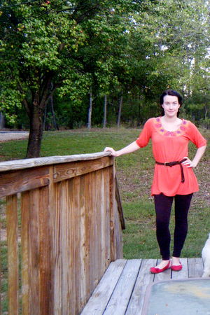 orange Forever 21 top - brown OP tights - brown random brand belt - red American