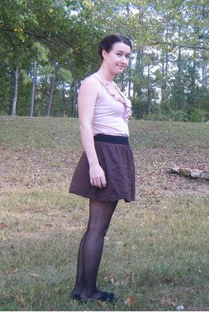 pink Target blouse - brown Old Navy skirt - black Target tights - black Target s