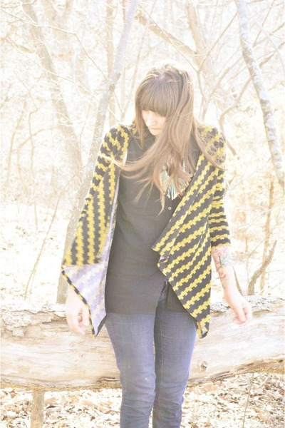 gold modcloth cardigan - black H&M top - sky blue World Market necklace