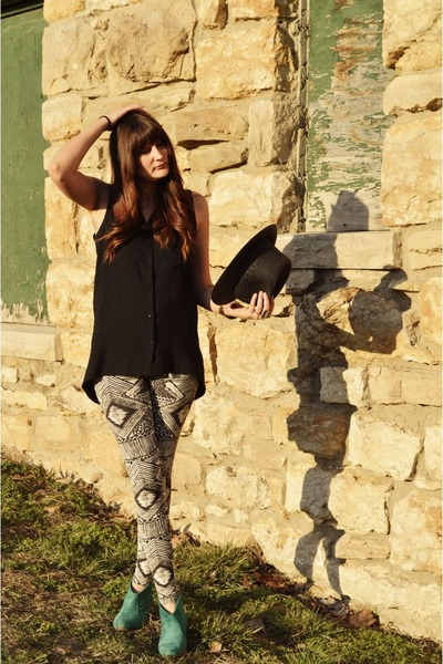 H&M leggings - Charlotte Russe boots - Forever 21 hat - Forever 21 top