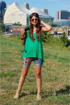 handmade shorts - hemp Urban Outfitters boots - Element top - handmade necklace
