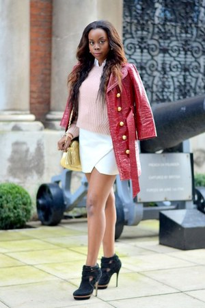 white Zara skirt - light pink H&M cardigan