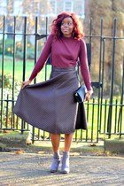 crimson asos skirt - silver H&M boots - maroon Primark top