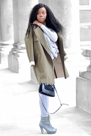 olive green coat - silver Forever 21 jeans - black Topshop bag