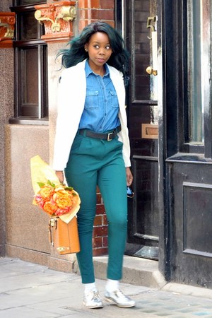 silver shoes - white blazer - navy Topshop shirt - burnt orange bag