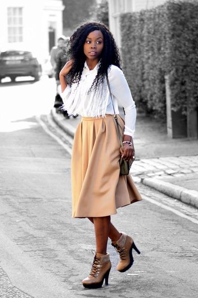 tan Missguided skirt - white blouse