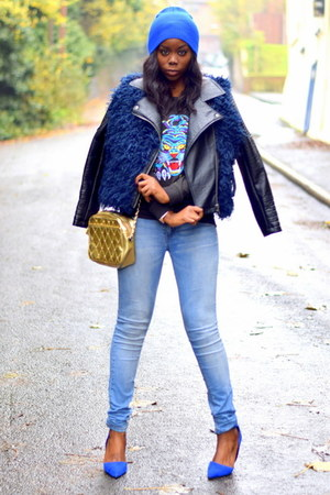 blue Primark bag - light blue Pull & Bear jeans - navy H by Henry Holland jacket