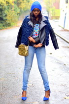 blue Primark bag - light blue Pull & Bear jeans - navy H by Henry Holland jacket