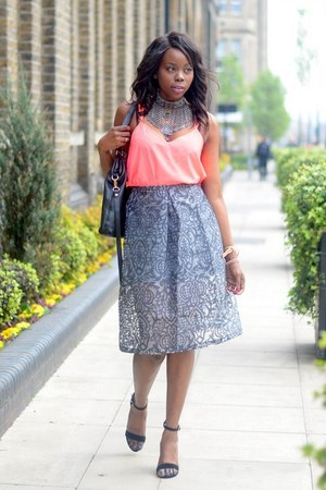 silver asos skirt - pink River Island shirt - silver H&M necklace