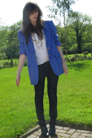 blue vintage  blazer - blue roll down Primark boots