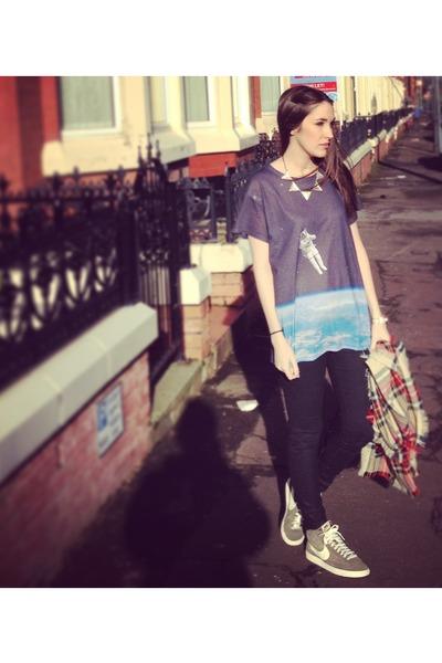 spaceman Topshop t-shirt - leather Zara jeans - tartan Primark scarf