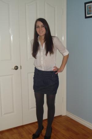 white Smart Set blouse - gray Lilia skirt - gray joe fresh stylestyle stockings