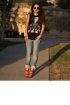 sky blue Zara jeans - black beatles DIY T-Shirt t-shirt - amethyst Bufallo heels
