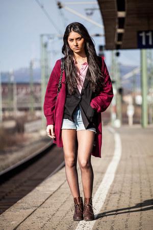 black Zara blazer - vintage boots - Primark shirt
