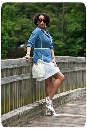white eyelet DIY dress - denim chambray DKNY shirt - vintage chanel purse