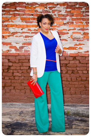 handmade pants - handmade blazer - vintage purse - Forever 21 necklace