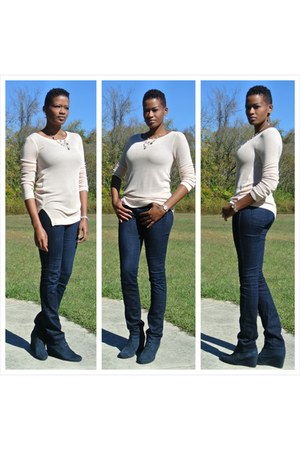 Betsey Johnson necklace - Paige jeans - Express sweater - Clarks wedges