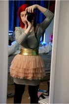 pink H&M skirt - black H&M dress - gold American Apparel belt