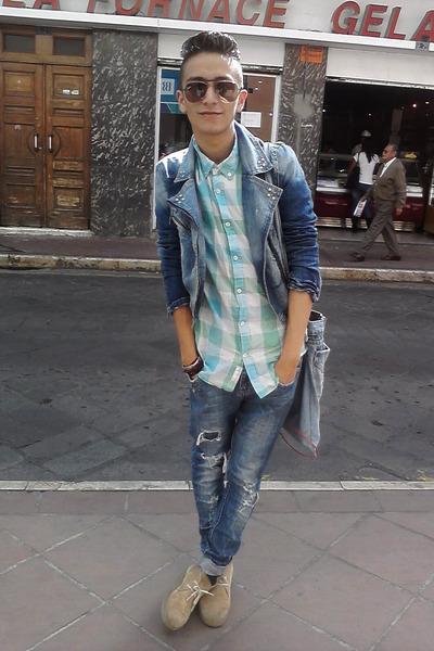 studded Bershka jeans - Forever 21 boots - studded biker Bershka jacket