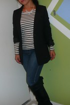 H&M skirt - H&M blazer - papaya jeans - Steve Madden boots