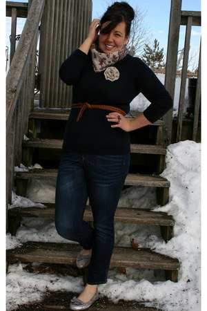 Gap sweater - Gap jeans - Forever 21 scarf - Gap loafers - H&M belt