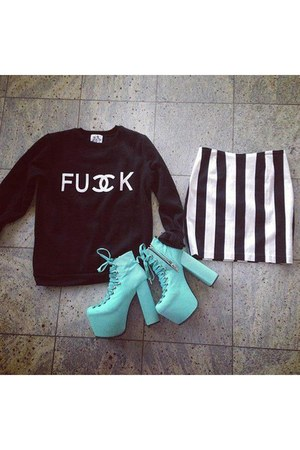aquamarine boots - black xx Shopaholic sweater